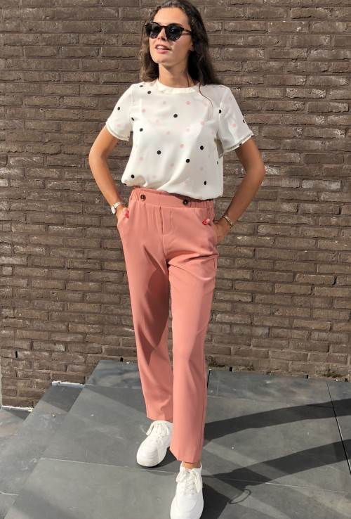 Straight pants TIMON nude pink