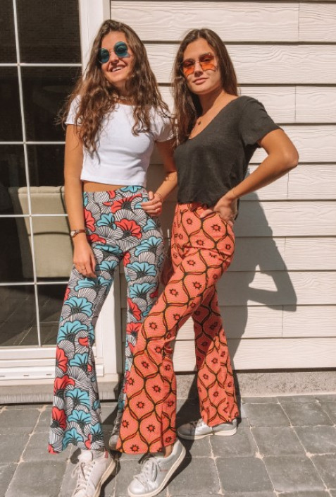 Flare pants HERMINE red with yellow patterns