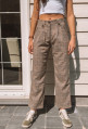 Ecru pants EMILIEN Prince of Wales brown and pink