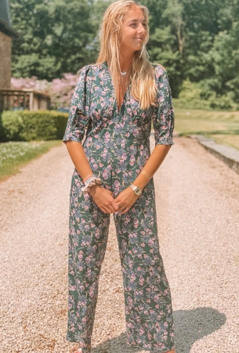 Combinaison pantalon SULTAN verte à fleurs roses
