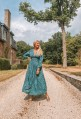 Robe SHOBA longue en soie vert émeraude et bleue