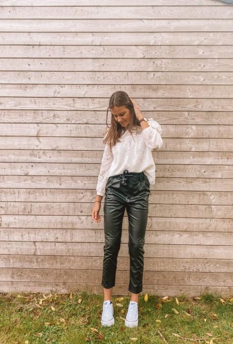 Pantalon LIZ en simili cuir noir