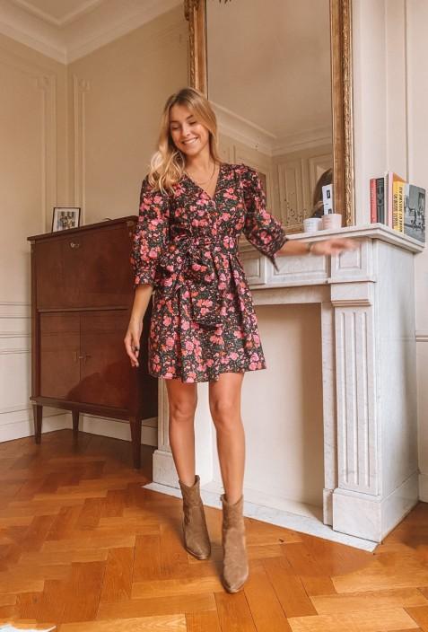 Petite robe GLORIA à fleurs fuschia