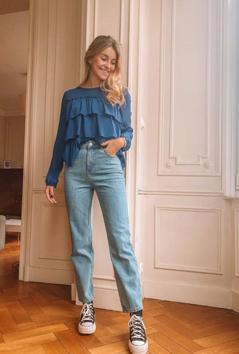 Jeans OLI bleu clair coupe mum