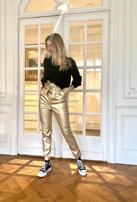 Pantalon IVY en simili cuir doré