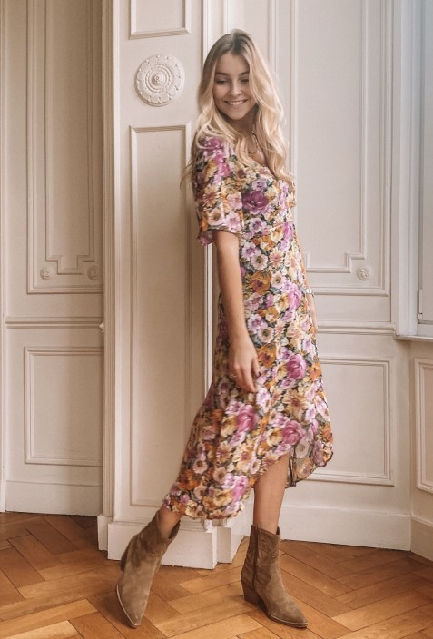 Long dress MARY with pink flowers