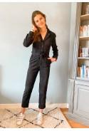 Combinaison pantalon EDWARD en velours côtelé noir