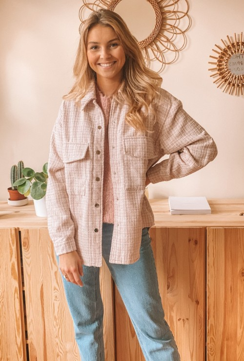 Shirt jacket CONSTANCE light pink