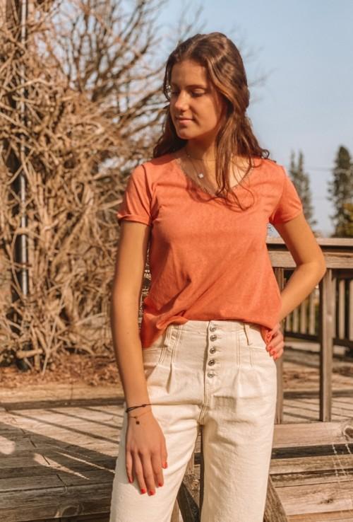T-shirt rose JONY en tissage lin
