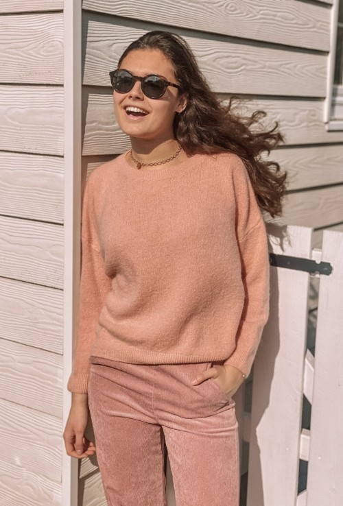 Sweater RILEY in light pink mohair and wool