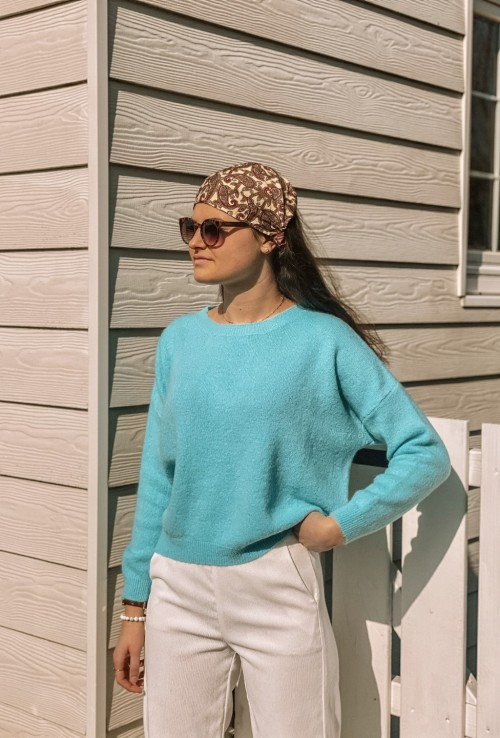 Sweater LOGAN turquoise in mohair and wool