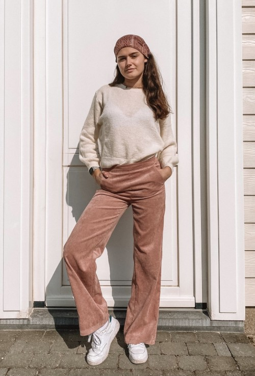 Flare pants BENJIE in light pink corduroy