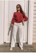 Pantalon MARNIE BLANC flare en velours à fines côtes