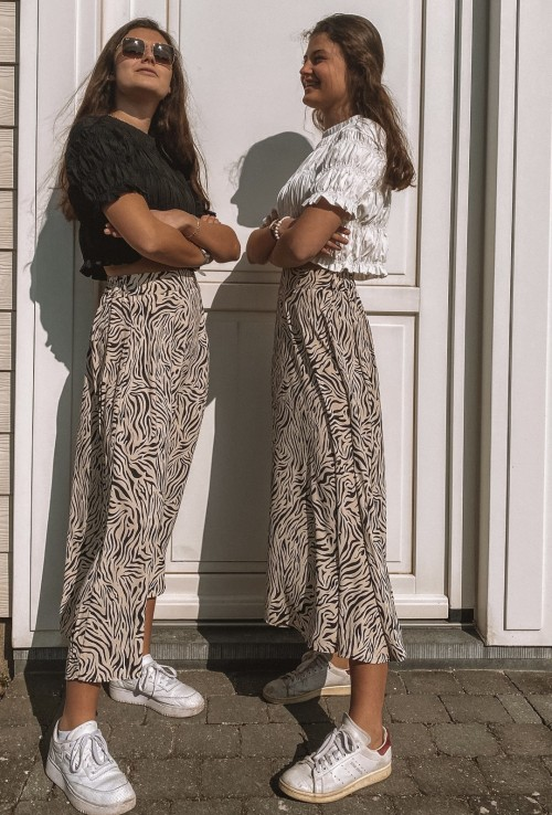 Long skirt MADA beige zebra print