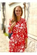Robe chemisier longue NINON rouge à fleurs blanches