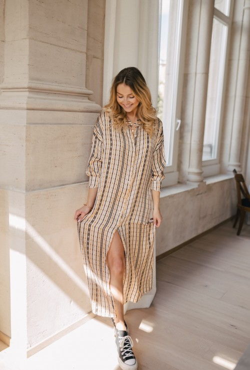 Long blouse dress GOLDIE with beige stripes