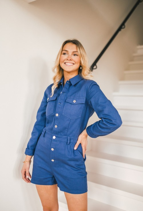 Playsuit AUDREY blue with long sleeves