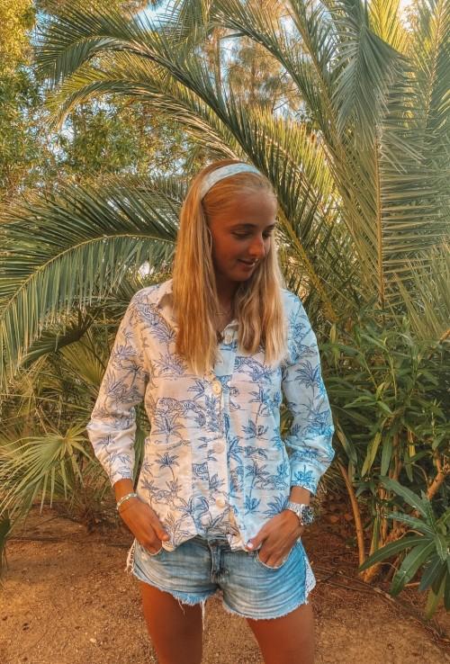 Chemise veste TIGER avec imprimé bleu