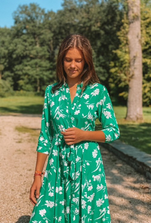Long blouse dress MANON BLEUE with white flowers