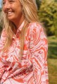 Blouse PINK with pink, orange and white waves