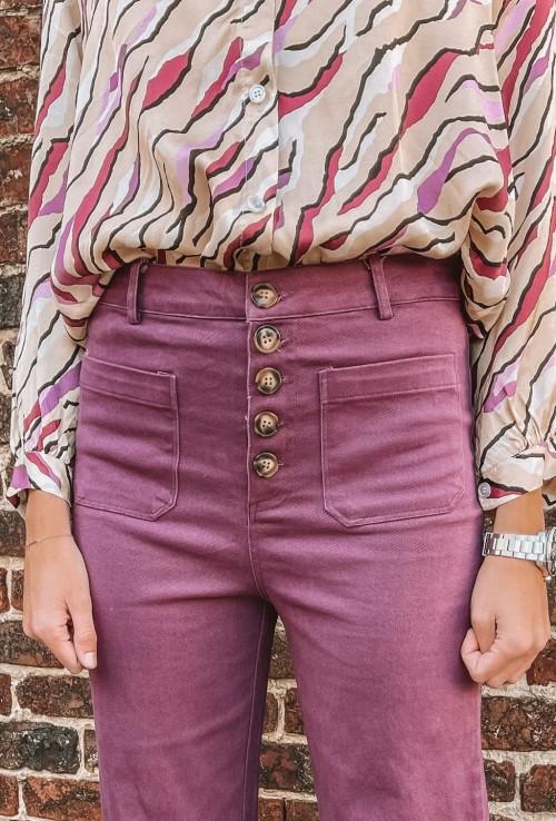 Pantalon HUMPHREY VIOLET flare en coton