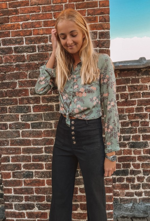 Blouse JADE VERT green with pink and white flowers